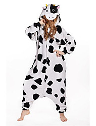 Kigurumi Pajamas New Cosplay® Milk Cow Leotard/Onesie Festival/Holiday Animal Sleepwear Halloween White Patchwork Polar Fleece Kigurumi
