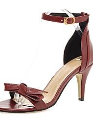 povoljno -Žene Cipele Umjetna koža Proljeće Ljeto Remen oko gležnja Stiletto potpetica Mašnica za Vjenčanje Zabava i večer Formalne prilike Crn