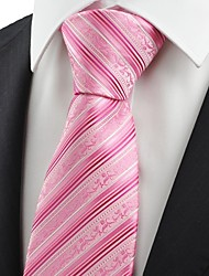 cheap -New Pink Flora Pattern Striped Mens Tie Necktie Wedding Party Holiday Gift KT0037