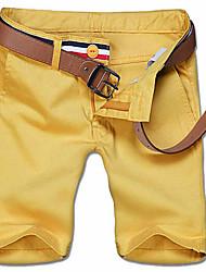 Herren Einfach Mittlere Hüfthöhe Unelastisch Gerade Schlank Kurze Hosen Hose Solide