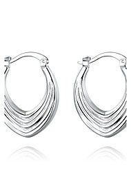 cheap -lureme®Fashion Style 925 Sterling Sliver Screw Thread Shaped Hoop Earrings