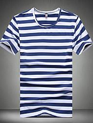 Men's Fashion Stripe Round Collar Slim Fit Short-Sleeve T-Shirt