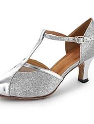 Damen Latin Modern Salsa Kunstleder Absätze Praxis Verschlussschnalle Maßgefertigter Absatz Grau Schwarz Silber Gold Maßfertigung
