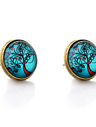 cheap -Lureme® Vintage Jewelry Time Gem Series Antique Bronze Blue Sky with Life Tree Stud Earrings for Women and Girls