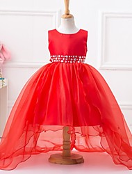 Ball Gown Asymmetrical Flower Girl Dress - Polyester Sleeveless Jewel Neck with Beading by YDN