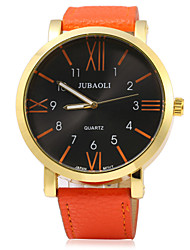 JUBAOLI Men's Fashion Watch Quartz Leather Band Black White Blue Red Orange