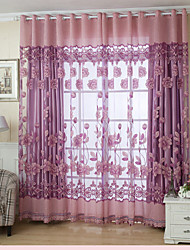 cheap -Grommet Top One Panel Curtain Country , Jacquard Living Room Polyester Material Sheer Curtains Shades Home Decoration