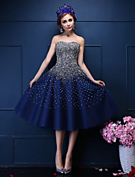 cheap -Ball Gown Sweetheart Tea Length Tulle Cocktail Party Prom Dress with Beading Crystal Detailing Pearl Detailing Sequins by QZ