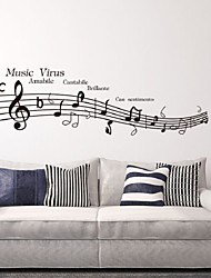 cheap -Lovely Sheet Music And Notes Virus Charactor Wall Parede Diy Removable Vinyl Wall Stickers Tv Wall Safa Background
