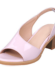 cheap -Women's Shoes Leatherette Summer Chunky Heel for Dress White Silver Yellow Pink