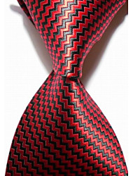 cheap -New Checked Black Red JACQUARD WOVEN Men's Tie Necktie #3017