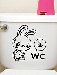 Недорогие -творческие маленький кролик туалет наклейки