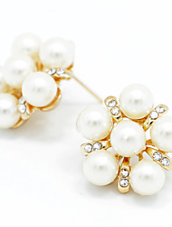 cheap -Lady's Pearl Crystal 18K Gold Plated Stud Earrings Elegant Style
