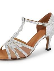 preiswerte -Damen Schuhe für den lateinamerikanischen Tanz Kunstleder Sandalen Schnalle Maßgefertigter Absatz Maßfertigung Tanzschuhe Gold / Schwarz
