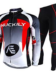 Nuckily Calça com Camisa para Ciclismo Homens Manga Longa Moto Conjuntos de Roupas Prova-de-Água Térmico/Quente Á Prova-de-Chuva Tiras