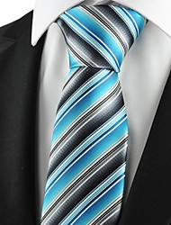 cheap -New Striped Blue Grey Mens Tie Suits Necktie Party Wedding Holiday Gift KT1070