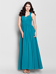 cheap -A-Line Straps Floor Length Chiffon Bridesmaid Dress with Beading Criss Cross by LAN TING BRIDE®