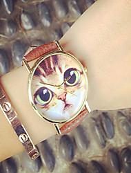 cheap -Women's Quartz Wrist Watch Hot Sale PU Band Charm Fashion Black White Brown