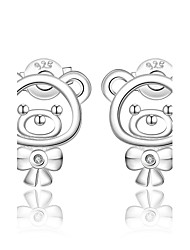 cheap -Women's AAA Cubic Zirconia Stud Earrings Clip Earrings - Sterling Silver, Zircon, Cubic Zirconia Bear, Animal Fashion, Cute Silver For Wedding Party Daily / Silver Plated