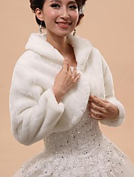 Wedding  Wraps / Fur Wraps / Hoods & Ponchos Capelets Long Sleeve Faux Fur White Wedding / Party/Evening Rolled collar Button Hidden Clasp
