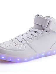 Herren Schuhe PU Frühling Herbst Komfort Slouch Stiefel Leuchtende LED-Schuhe Sneakers Schnürsenkel Für Normal Weiß Schwarz
