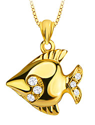 placcato carino pesci tropicali 18k gioielli in cristallo disegno speciale ciondolo per le donne / regalo degli uomini p30139