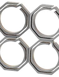 フラ八角形のチタン合金キーリング - シャンパン+グレー(小サイズ/ 4個入)