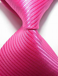 Men's Fashion Striped Hot Pink JACQUARD WOVEN Necktie Necktie