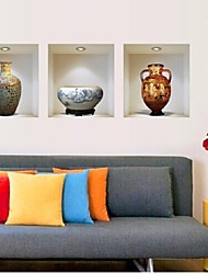 3D Ceramic Vase Wall Sticker Home Living Room Sofa Background Decor Murals Decals Art Chinese Style