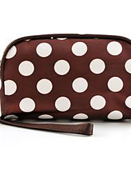 Women Fashion Portable Cosmetic Dot Pattern Beauty Bag Nylon Makeup Hand Case Bag