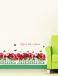 7002 Warm DIY Removable Wallpaper Colorful Flowers Skirting Line Wall Stickers Wall Decal Home Decor