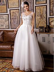 vestito da cerimonia nuziale del tulle di lunghezza del pavimento della damigella d'on-line con bordare dall'amante