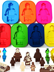 Silicone Robot People Figure Robot Man Ice Tray Chocolate Soap Mold Cake Cube Candy(Random Color)