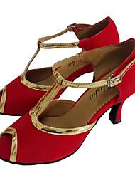Women's Dance Shoes Latin/Ballroom Patent Leather/Flocking Heel Red Customizable