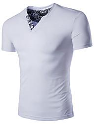 preiswerte -Herren T-shirt-Einfarbig Freizeit / Übergröße Baumwolle Kurz-Schwarz / Blau / Weiß