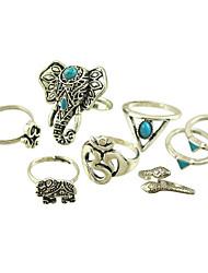 preiswerte -Damenlegierung Ring Türkis Legierung 8 Stück klassischen weiblichen Stil