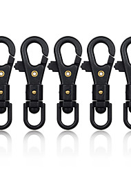 cheap -FURA 360 Degree Rotation Nylon Plastic Steel Lightweight & High Strength Parachute Cord Carabiner - Black (5 PCS)