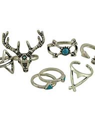 женский сплав кольцо бирюзовый сплав 7 штук классический женский стиль