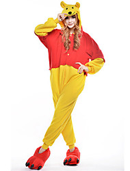 baratos -Pijamas Kigurumi Urso Pijamas Macacão Ocasiões Especiais Lã Polar Amarelo Cosplay Para Adulto Pijamas Animais desenho animado Dia das