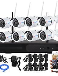 yanse® spina 8ch e giocare NVR wireless kit p2p 720p HD sistema CCTV di WIFI outdoor / indoor ir notte di sicurezza visione ip camera
