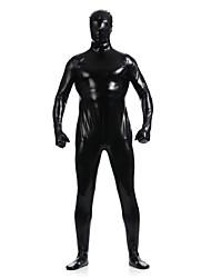 cheap -Shiny Zentai Suits Ninja Zentai Cosplay Costumes Black Solid Leotard/Onesie Zentai Spandex Shiny Metallic Unisex Halloween