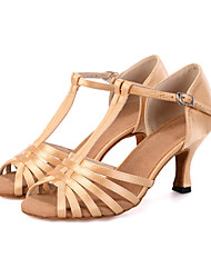 cheap -Women's Latin Shoes Elastic Fabric Sandal / Heel / Sneaker Buckle / Ribbon Tie / Hollow-out Flared Heel Customizable Dance Shoes Black / Beige / Green / Leather / Practice