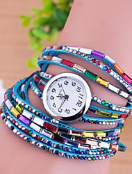 Women's Fashion Watch Bracelet Watch Quartz Imitation Diamond Leather Band Multi-Colored