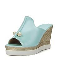 cheap -Women's Shoes Leatherette Summer Slingback Platform Wedge Heel Imitation Pearl for Dress White Black Blue Pink
