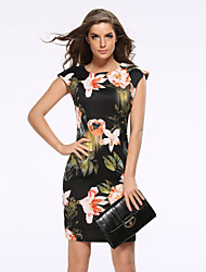 cheap -Women's Plus Size Street chic Sheath Dress - Floral Black, Print