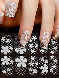 3d White Lace Nail Rhinestone Art Stickers,1sheet Flower Full Cover Nail Decorations