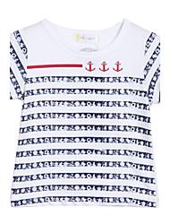 Menina de Camiseta Algodão Verão Branco