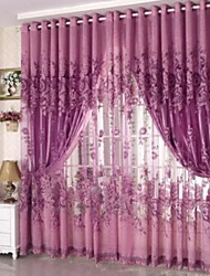 cheap -Grommet Top Pencil Pleat One Panel Curtain Country , Jacquard Living Room Polyester Material Sheer Curtains Shades Home Decoration
