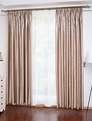 cheap -Rod Pocket Grommet Top Tab Top Double Pleat Two Panels Curtain Neoclassical , Embossed Solid Bedroom 100% Polyester Polyester Material