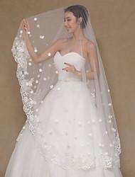 Uma Camada Borda com aplicação de Renda Véus de Noiva Véu Capela Com Apliques Bordado Strass Renda Tule